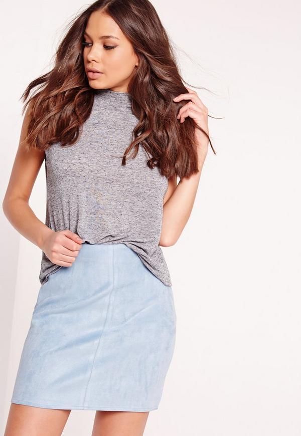 Faux Suede Mini Skirt Blue