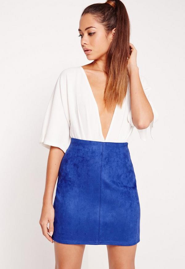 Faux Suede Mini Skirt Cobalt Blue