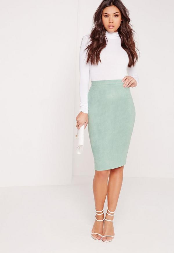 Faux Suede Midi Skirt Green
