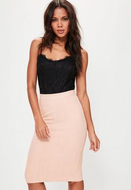 Falda midi de antelina rosa