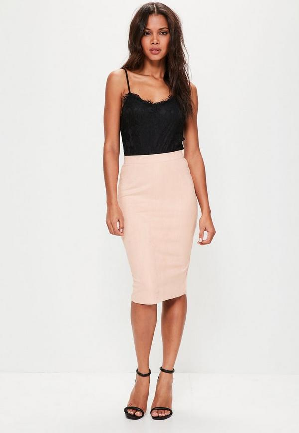 Faux Suede Midi Skirt Nude - Missguided