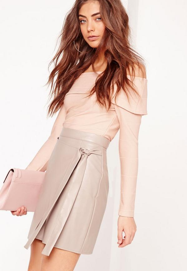 Wrap Front Faux Leather Mini Skirt Grey