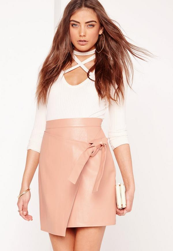 Wrap Front Faux Leather Mini Skirt Pink