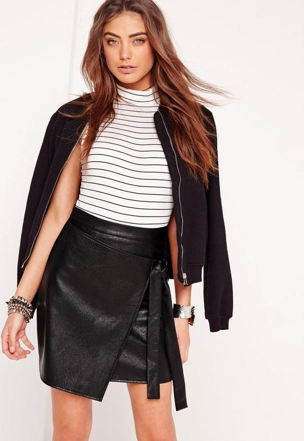 Wrap Front Faux Leather Mini Skirt Black