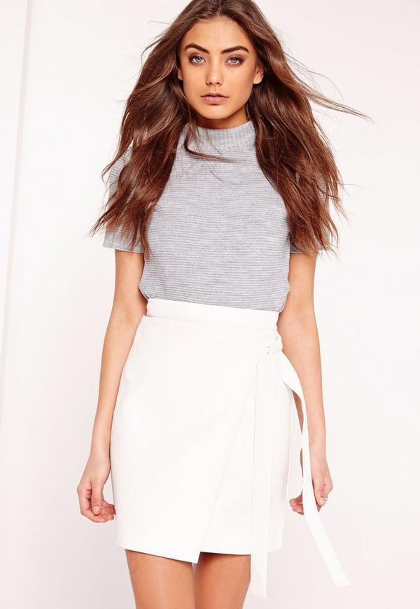 Wrap Front Faux Leather Mini Skirt White