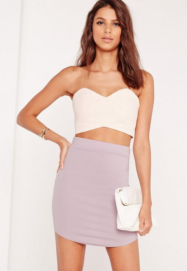 Ponte Curve Hem Mini Skirt Lilac
