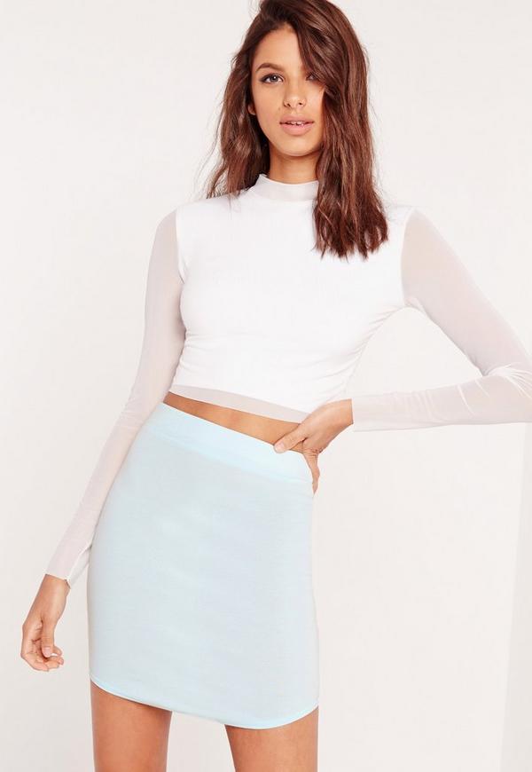 Ponte Curve Hem Mini Skirt Green