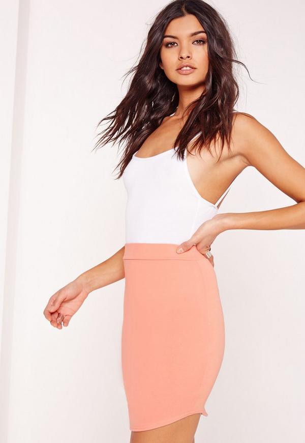 Ponte Curve Hem Mini Skirt Orange