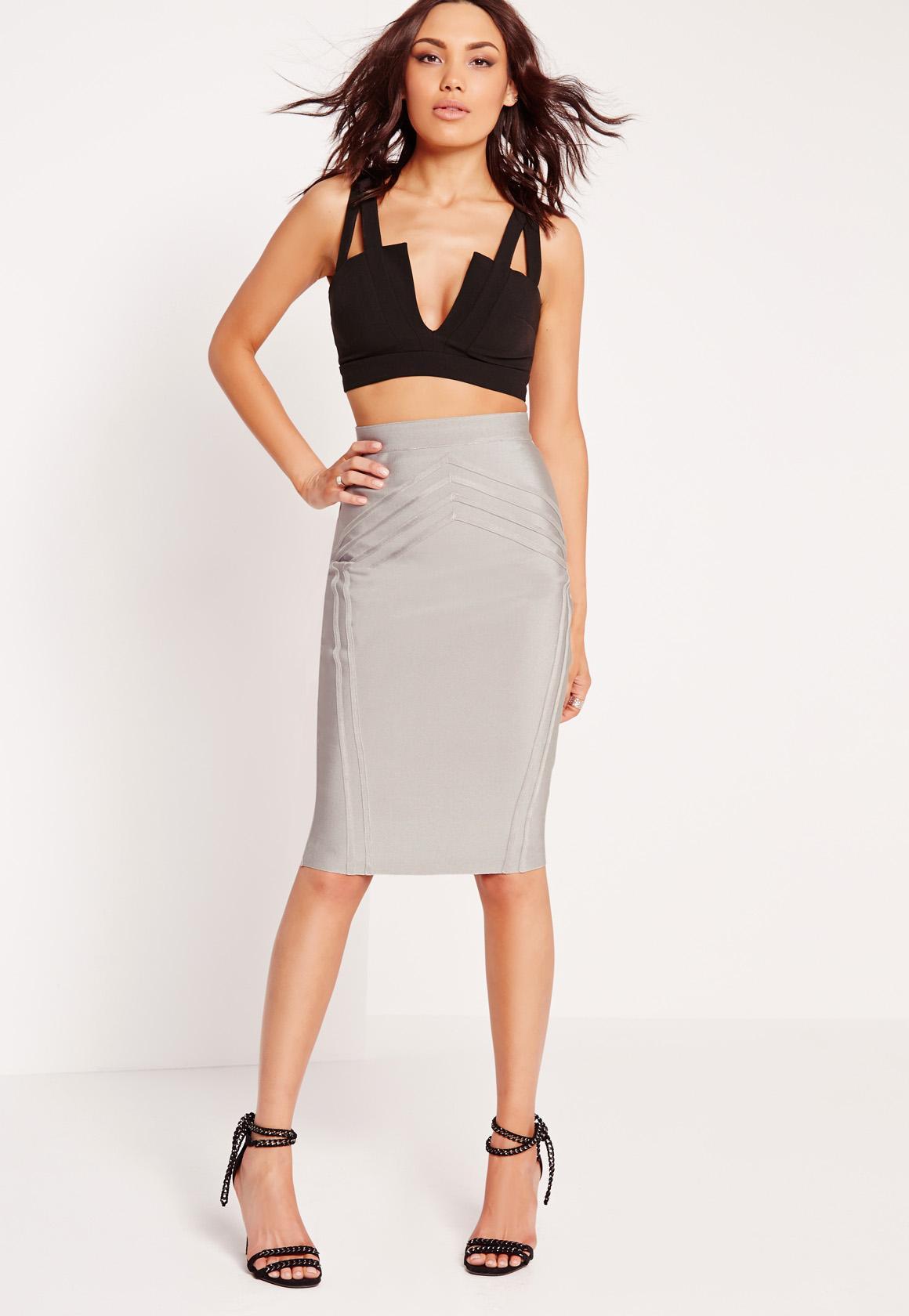 High Waisted Bandage Midi Skirt Grey | Missguided