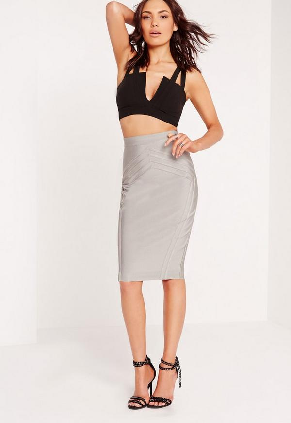 high waisted bandage midi skirt grey missguided australia