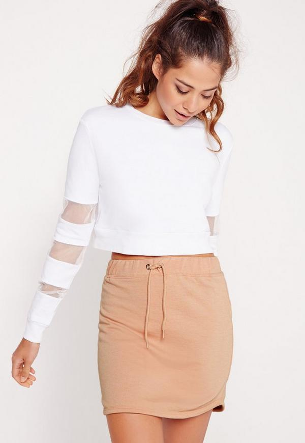 Drawstring Loopback Jersey Mini Skirt Nude