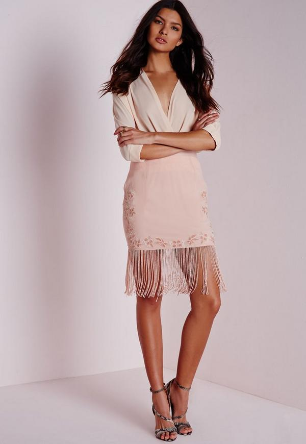 Embroided Detail Mini Skirt Nude