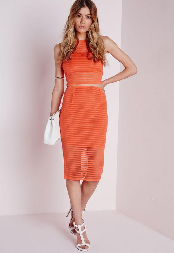 Stripe Mesh Midi Skirt Orange