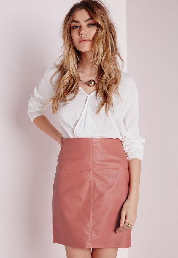 Pink faux leather mini skirt – Your skirt this season photo blog