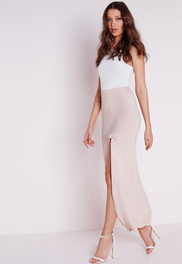tie knot maxi skirt missguided