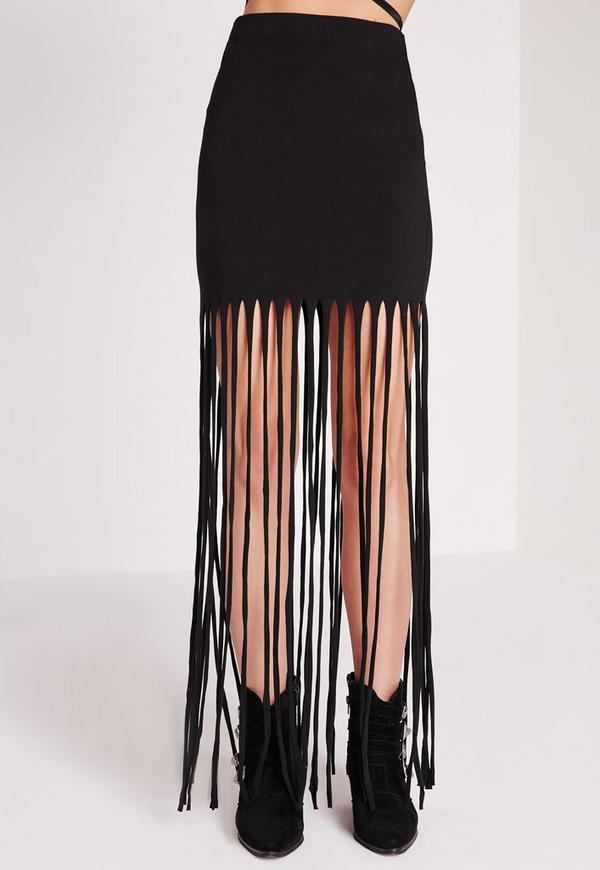 jersey fringe maxi skirt black missguided