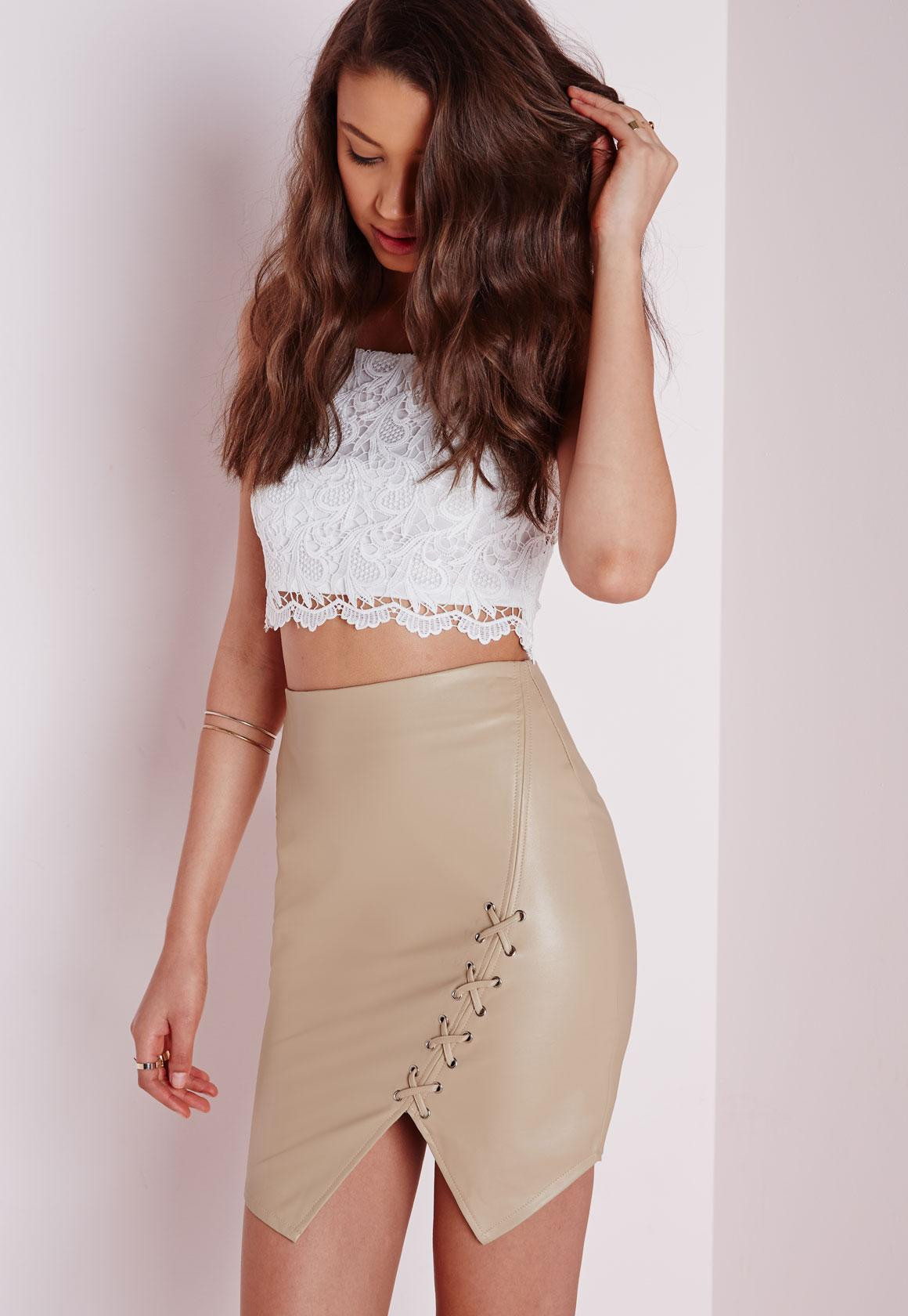 Lace Up Faux Leather Mini Skirt Tan | Missguided