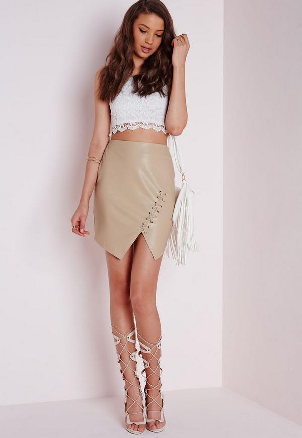 Lace Up Faux Leather Mini Skirt Tan - Mini - Faux - Leather ...