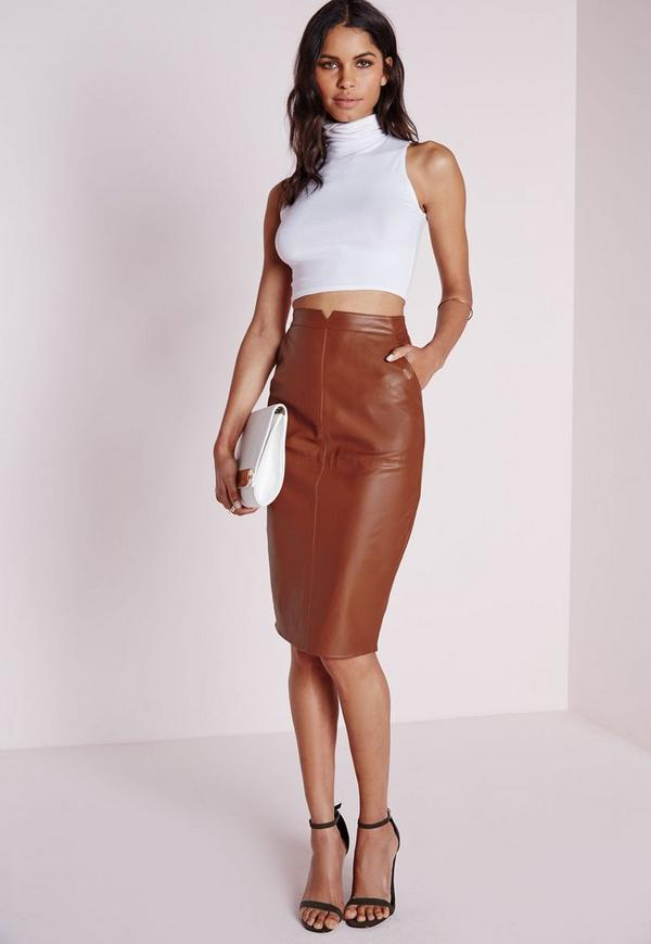 Faux Leather Midi Skirt Tan