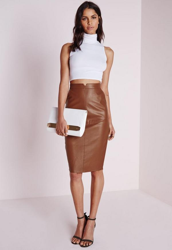 Faux Leather Midi Skirt Tan | Missguided