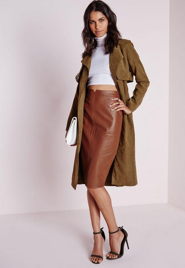 Faux Leather Midi Skirt Tan - Faux - Leather - Missguided