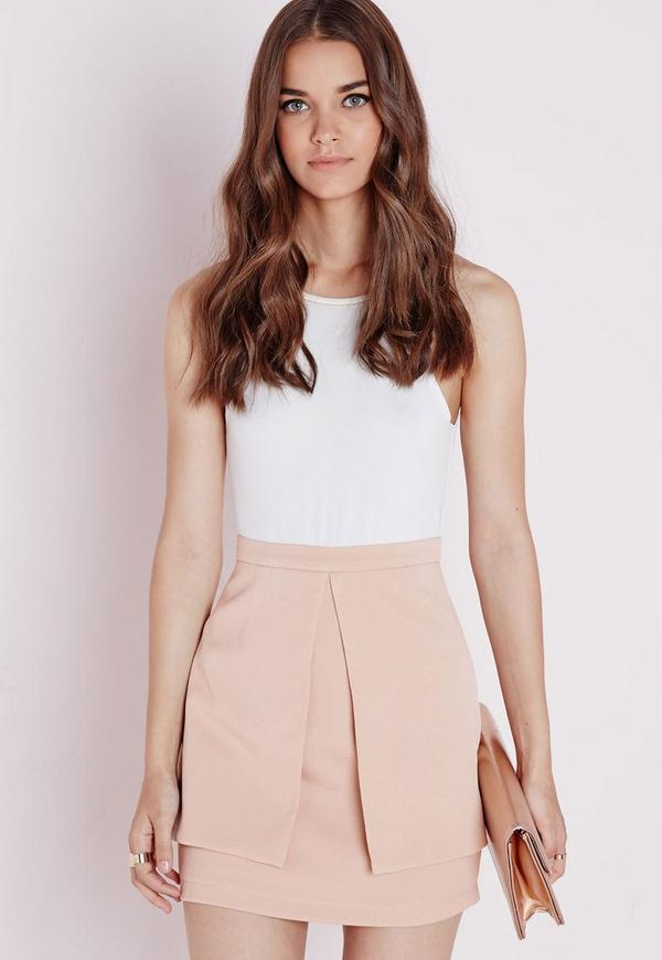 Panel Detail Mini Skirt Taupe