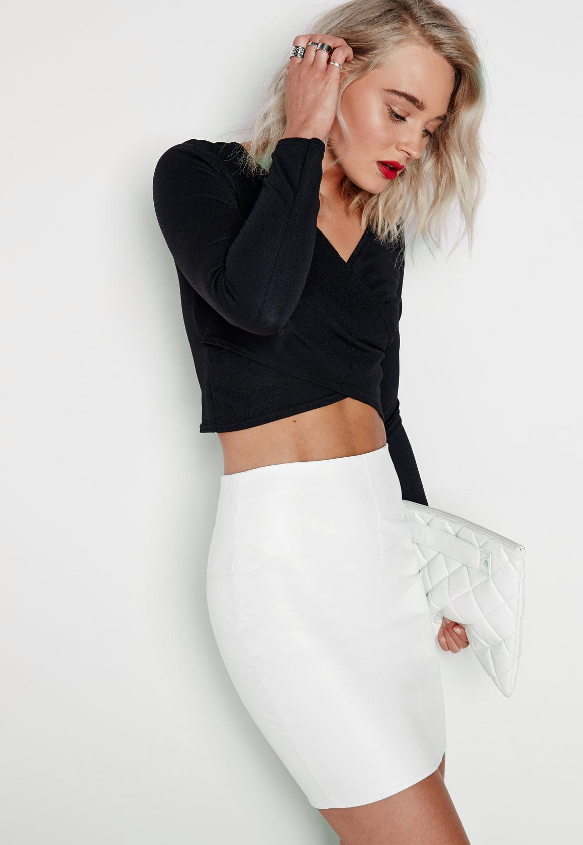 White Faux Leather Mini Skirt | Missguided