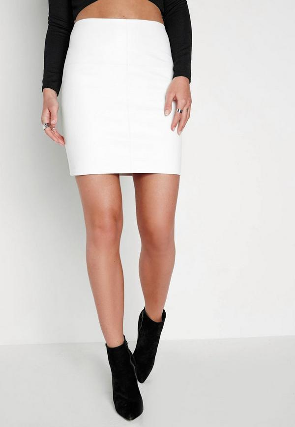 faux leather mini skirt white missguided