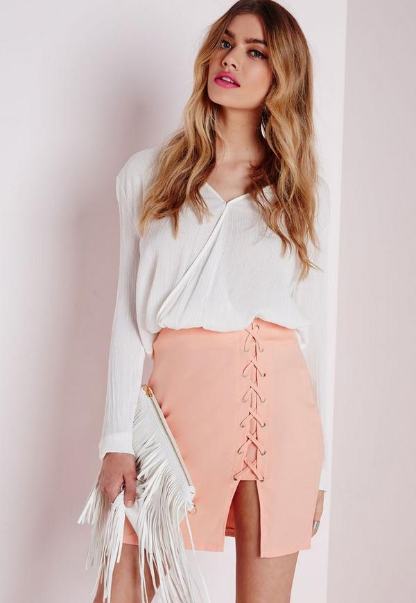 Lace Up Mini Skirt Nude