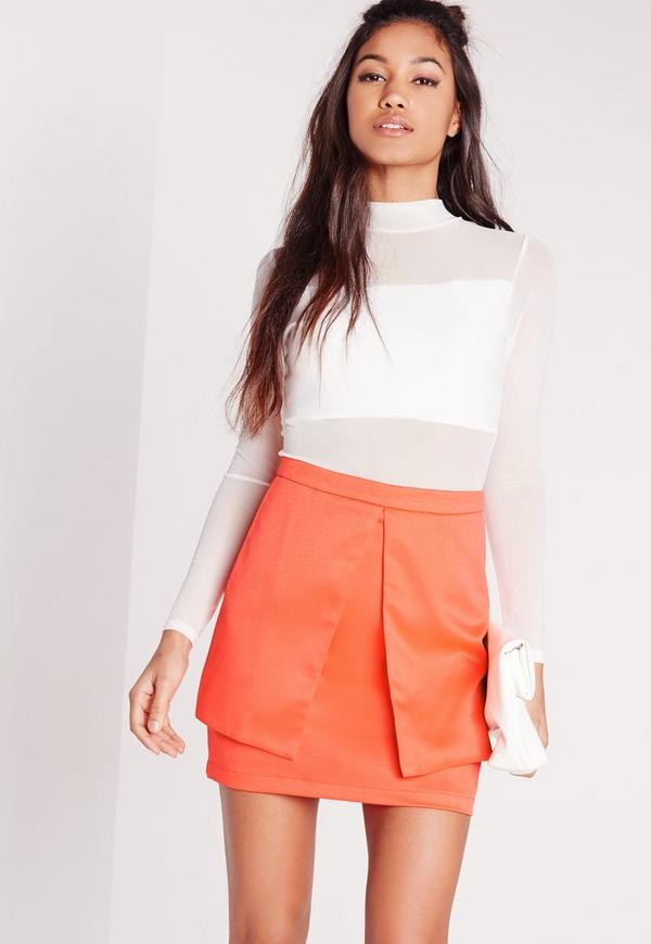 Panel Detail Mini Skirt Orange