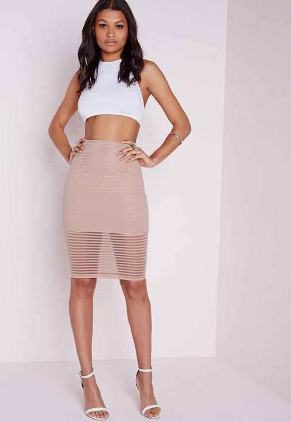 Stripe Mesh Midi Skirt Nude
