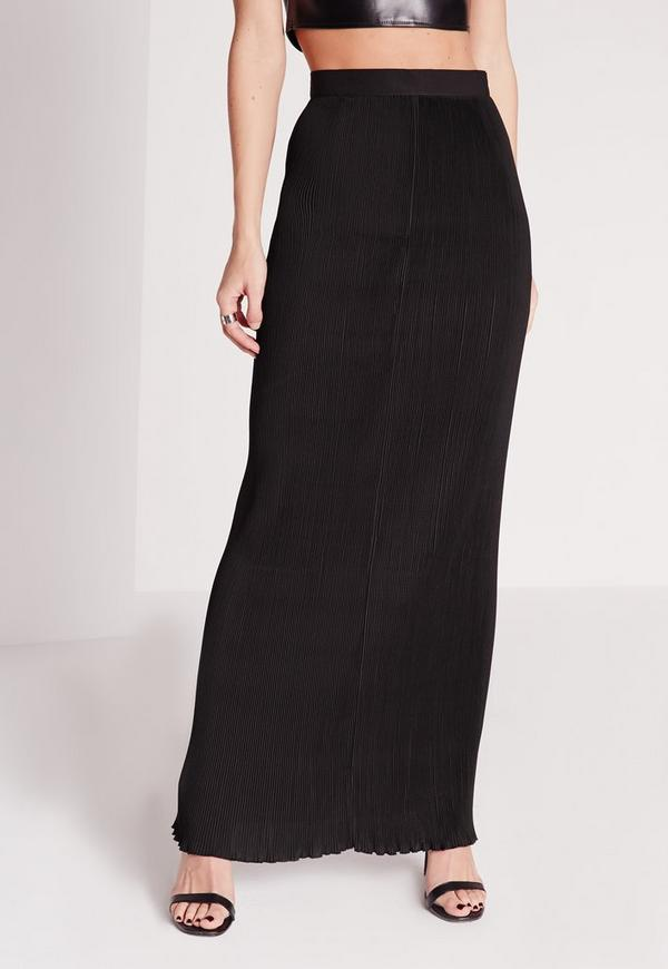 Pleated Column Maxi Skirt Black | Missguided