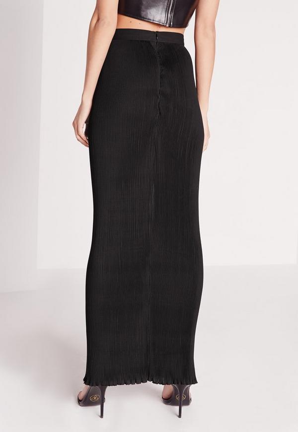 jupe longue pliss e droite noire missguided. Black Bedroom Furniture Sets. Home Design Ideas
