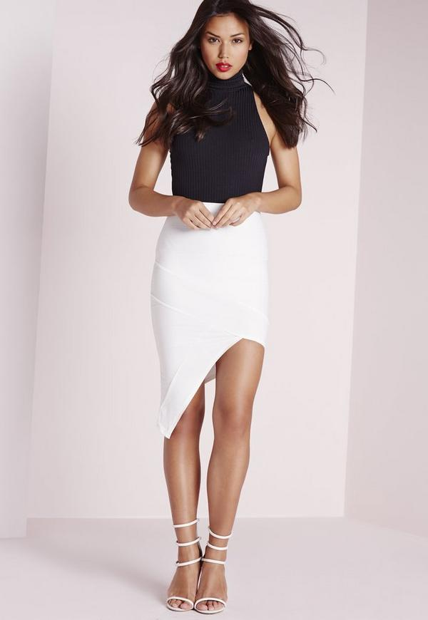 Bandage Asymmetric Midi Skirt White