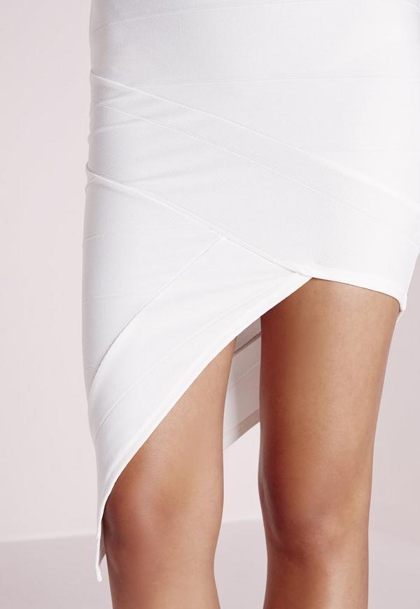 bandage asymmetric midi skirt white missguided