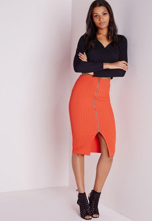 Ribbed Zip Front Midi Skirt Orange