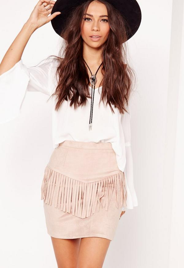 Fringing Panel Faux Suede Mini Skirt Nude