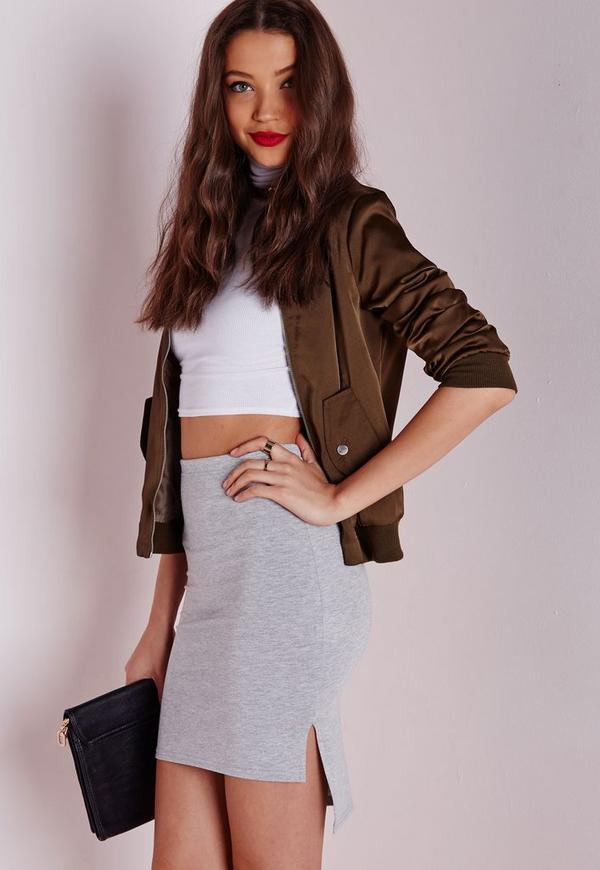 Step Hem Jersey Mini Skirt Grey