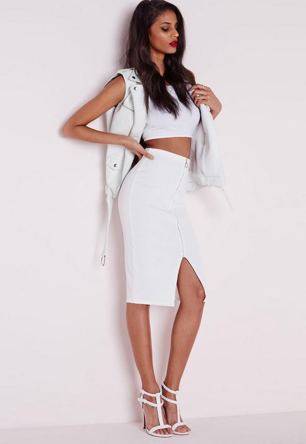 Ribbed Zip Front Midi Skirt White