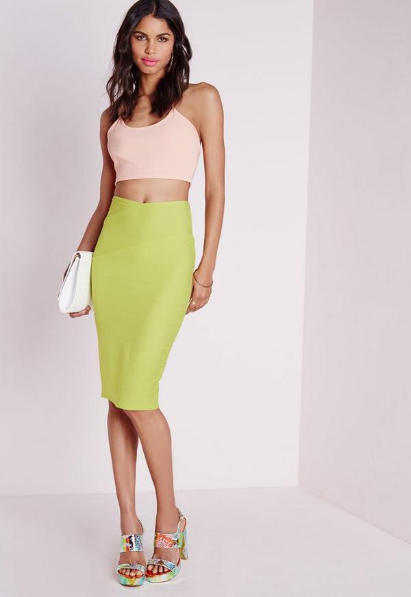 Wrap Waist Bandage Midi Skirt Lime