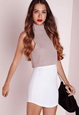 Ponte Curve Hem Mini Skirt White
