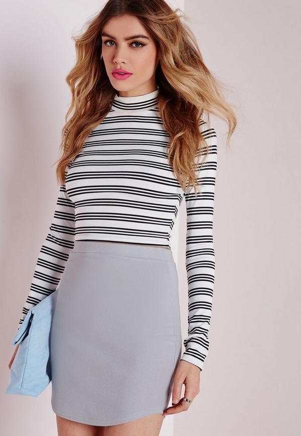 Ponte Curve Hem Mini Skirt Grey