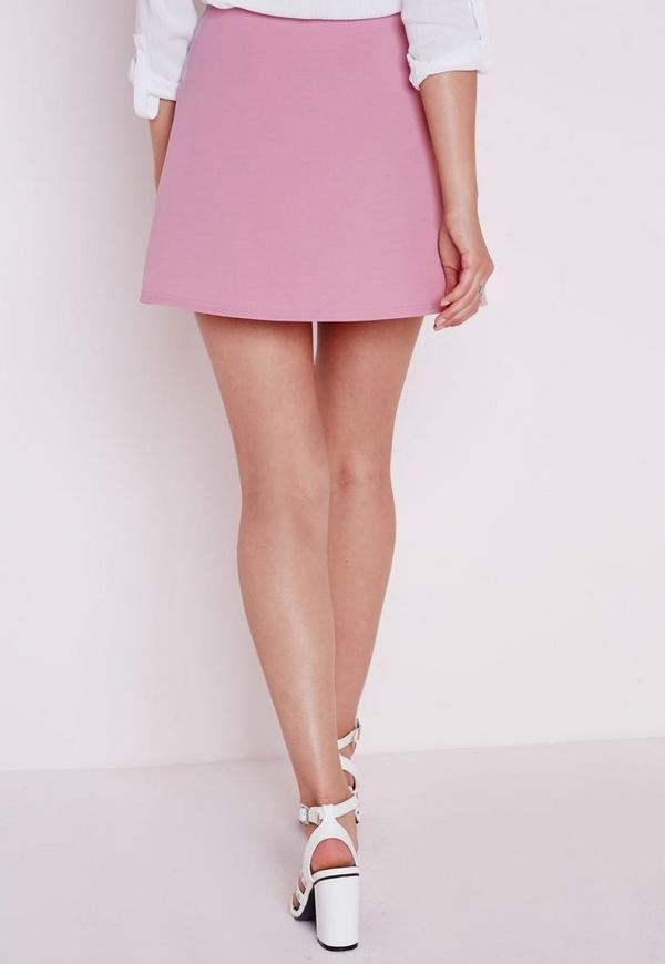 Scuba A Line Skirt Mauve | Missguided