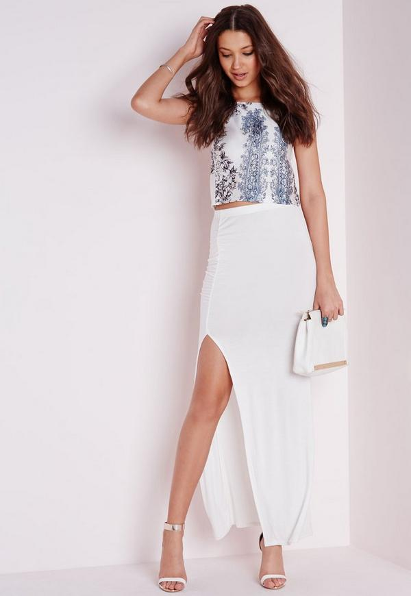 Ruched Side Split Maxi White