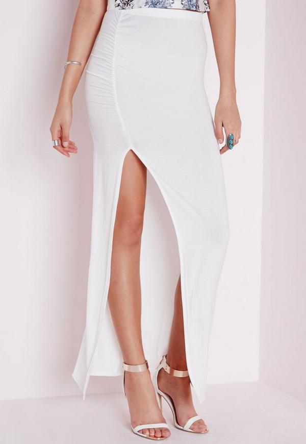 Ruched Side Split Maxi White - Maxi - Skirts - Missguided