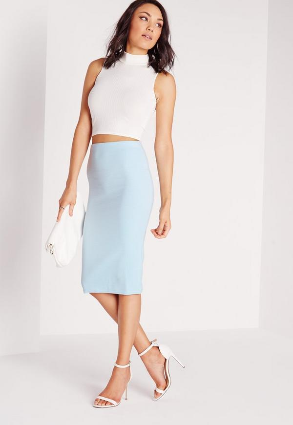 Ribbed Midi Skirt Blue
