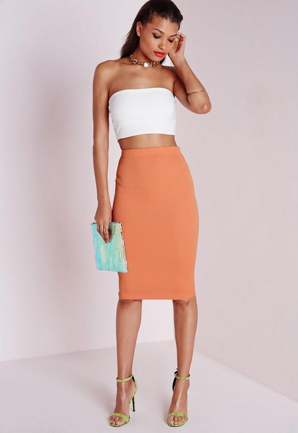 Ribbed Midi Skirt Orange