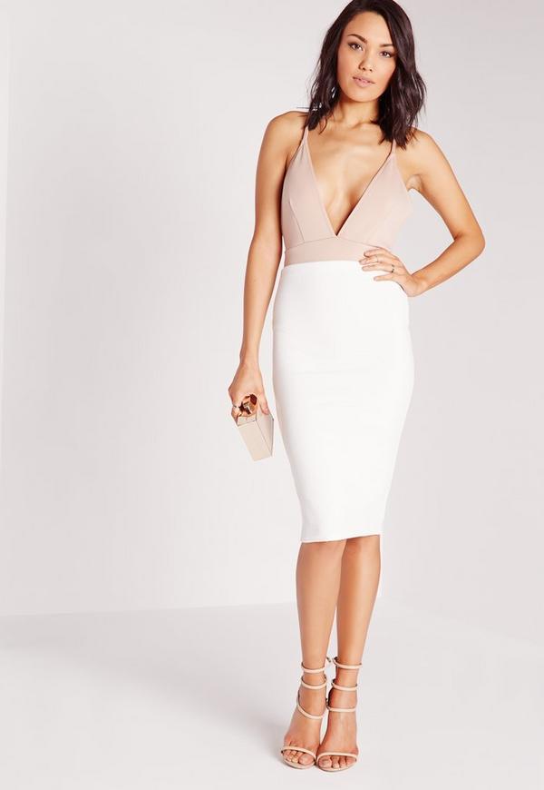 Ribbed Midi Skirt White