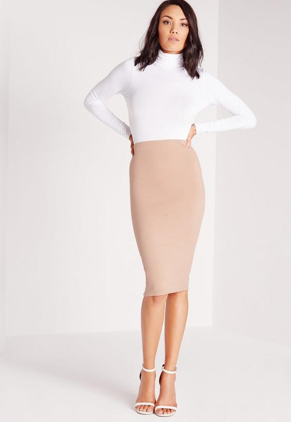 Ribbed Midi Skirt Mocha