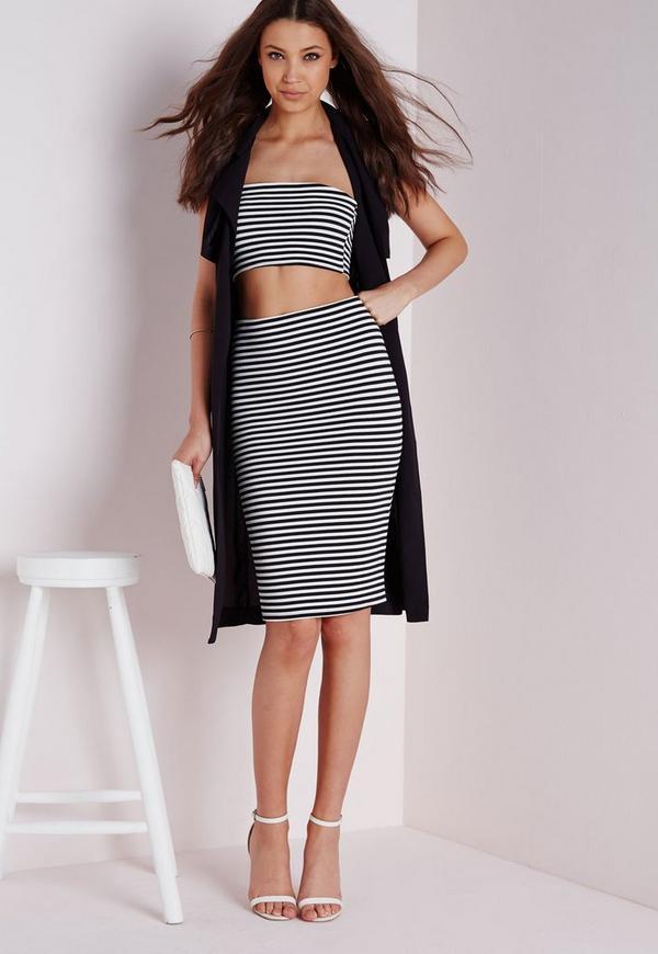 Ribbed Midi Skirt Black / White